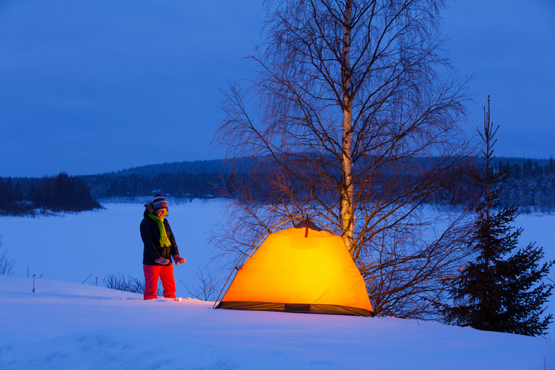 Types of camping - Winter Camping In A Tent By A Lake